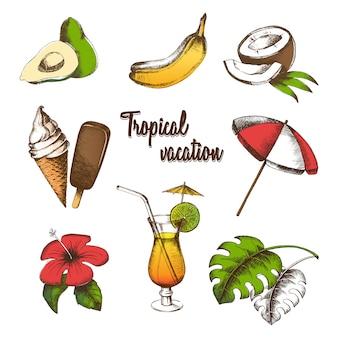 Insieme di oggetti per una vacanza tropicale. frutta estiva, cocktail, gelati, fiori tropicali, foglie di palma, ombrellone dipinto in stile grafico. disegno a mano libera multicolore.