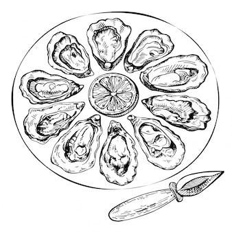 Insieme di ostriche schizzo disegnato a mano illustrazione di schizzo di frutti di mare freschi.