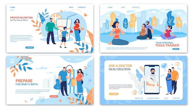 Insieme di pagine web di pratiche di gravidanza in buona salute