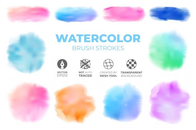 Insieme di pennellate colorate realistiche dell'acquerello su uno sfondo trasparente isolato
