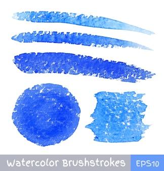 Insieme di pennellate di acquerello blu, illustrazione vettoriale