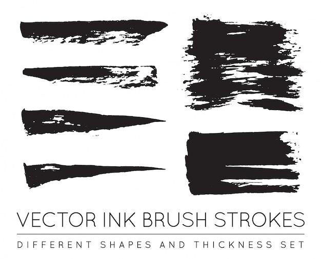 Insieme di pennellate di inchiostro nero penna vettoriale. tratto di pennello inchiostro grunge. tratto di pennello sporco.