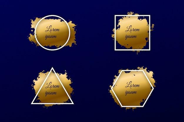 Insieme di pennellate di vernice oro con banner di brillare di lusso cornice geometrica