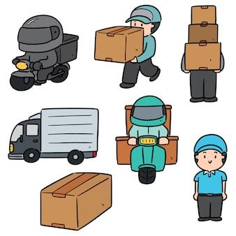 Insieme di persona di consegna e logistica