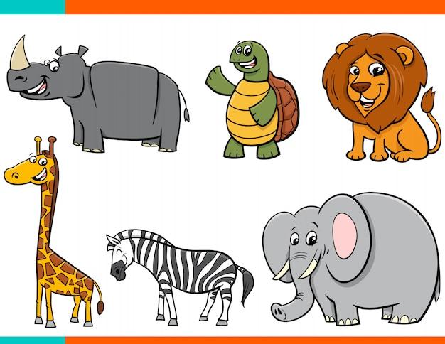 Insieme di personaggi animali felici dei cartoni animati