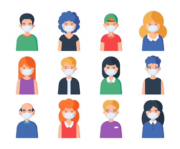 Insieme di persone avatar in maschera medica