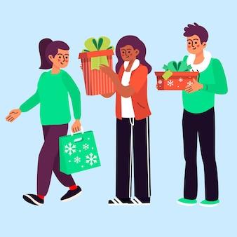 Insieme di persone che comprano regali