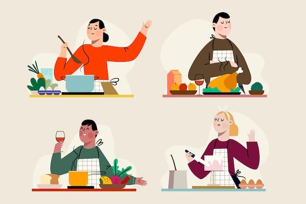 Insieme di persone che cucinano il loro cibo preferito