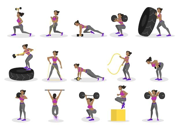 Insieme di persone che fanno allenamento. esercizio di fitness e bodybuilding