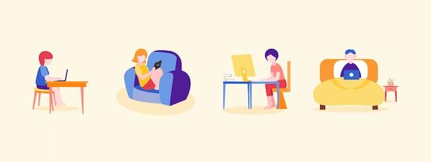Insieme di persone che lavorano da casa o studiano online durante la situazione di frenata pandemica del coronavirus.