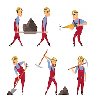 Insieme di persone che lavorano. i minatori in diverse pose di azione