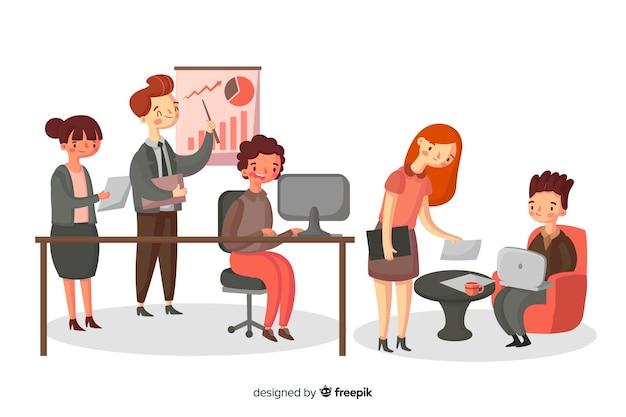 Insieme di persone che lavorano in ufficio