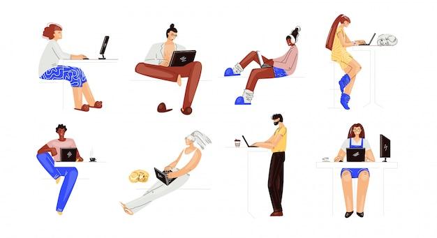 Insieme di persone che lavorano su un computer portatile. personaggi multirazziali uomo e donna, che lavorano da remoto a casa insieme.