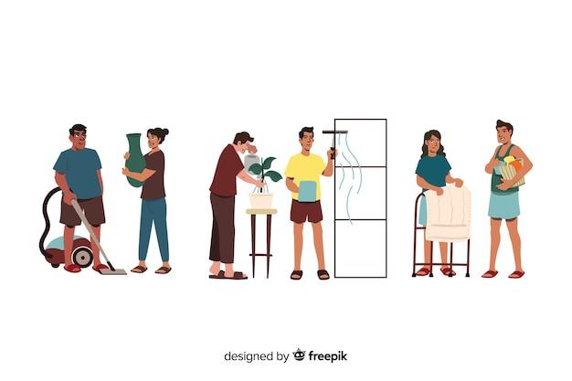 Insieme di persone che puliscono la loro casa illustrata