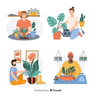 Insieme di persone che si prendono cura delle piante