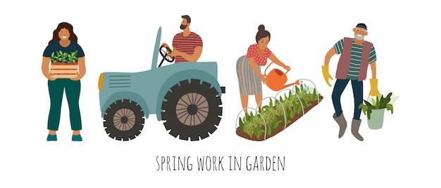 Insieme di persone che svolgono lavori di primavera in giardino