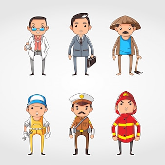 Insieme di persone con diversa illustrazione vettoriale professione, ci sono medico, poliziotto, agricoltore, uomo d'affari, pompiere, meccanico illustrazione vettoriale design piatto