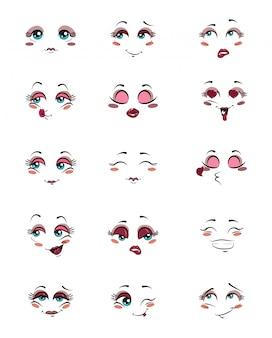 Insieme di persone con emozioni. raccolta di espressioni facciali. illustrazione.