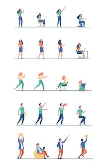 Insieme di persone dei cartoni animati in diverse pose di attività