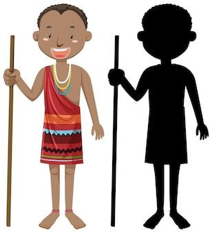 Insieme di persone del carattere di tribù africane con la sua silhouette