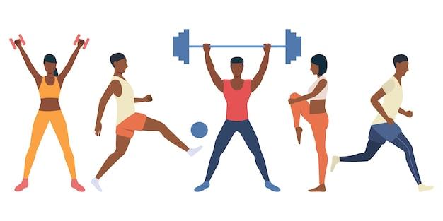 Insieme di persone difficili allenamento con attrezzature sportive