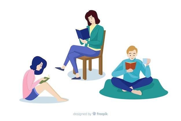 Insieme di persone giovani amanti del libro che leggono