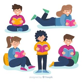 Insieme di persone illustrate studiando