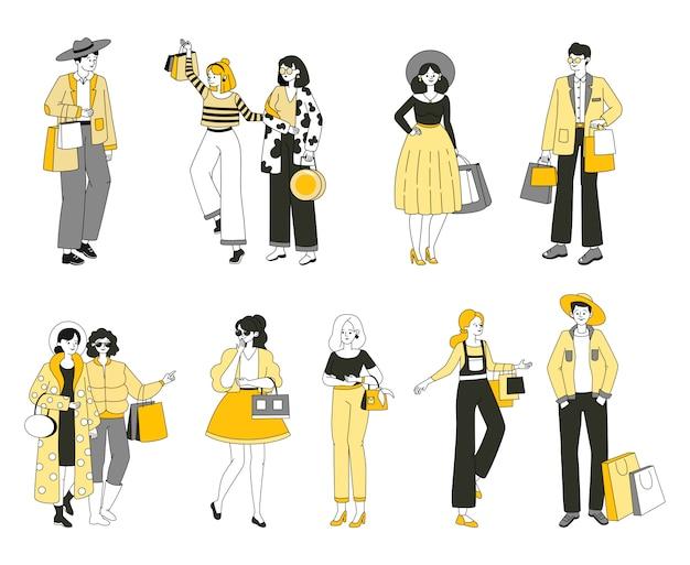 Insieme di persone in abiti di moda. persone alla moda che prendono parte alle vendite stagionali, allo shopping.
