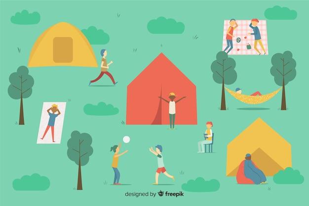 Insieme di persone in campeggio in natura