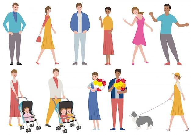 Insieme di persone in vari stile di vita isolato. illustrazione piatta vettoriale.