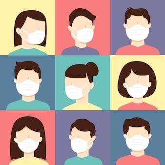Insieme di persone perfette con maschere, prevenzioni covide19