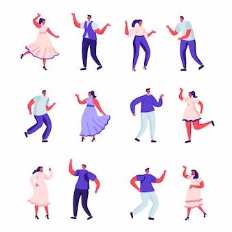Insieme di persone piatte ballano a personaggi di una festa.