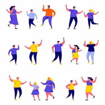 Insieme di persone piatte che ballano i genitori con personaggi di bambini