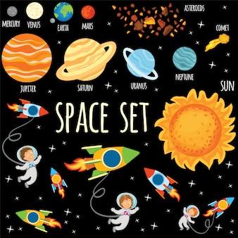Insieme di pianeti e astronauti nello spazio.