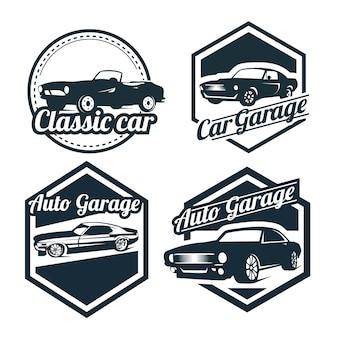 Insieme di progettazione del logos dell'automobile, emblemi di stile d'annata e retro illustrazione dei distintivi. riparazioni di auto d'epoca, sagome di servizio pneumatici.