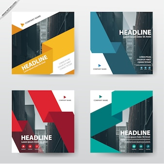 Insieme di progettazione del modello di brochure flyer moderno opuscolo