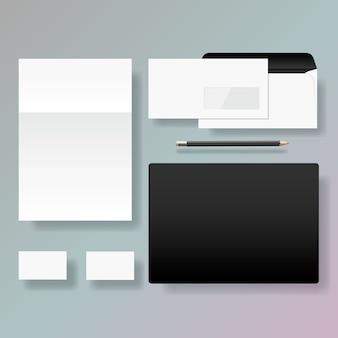 Insieme di progettazione del modello di stile di identità corporativa, illustrazione.