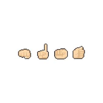 Insieme di progettazione dell'icona della mano del fumetto di arte del pixel.
