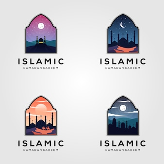 Insieme di progettazione dell'illustrazione del ramadan di logo della moschea islamica