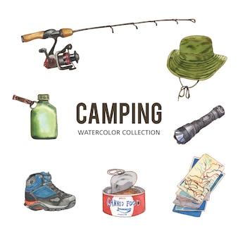 Insieme di progettazione di campeggio con l'acquerello, illustrazione disegnata a mano