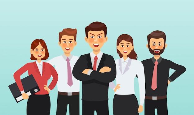 Insieme di progettazione di carattere dell'uomo d'affari e della donna di affari