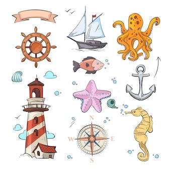 Insieme di progettazione di doodle di vettore nautico