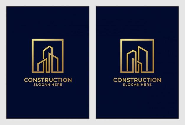 Insieme di progettazione di logo della costruzione