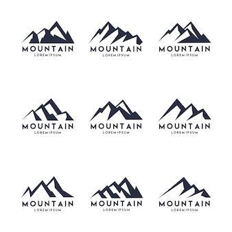 Insieme di progettazione di logo di forma di montagna