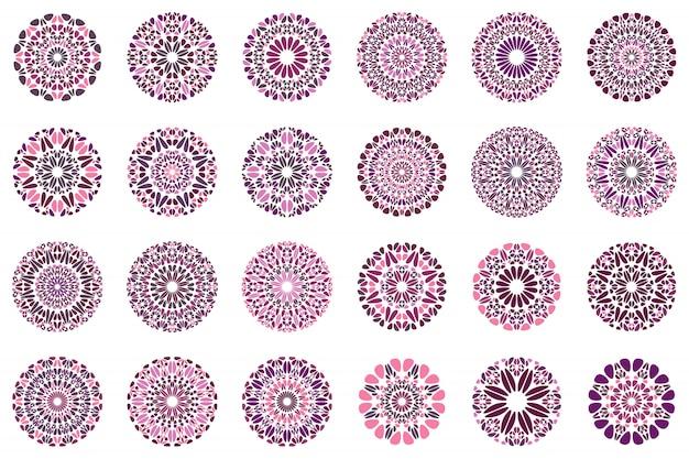 Insieme di progettazione di logo floreale astratto colorato mandala