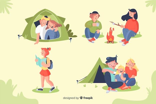 Insieme di progettazione disegnata a mano di campeggio di persone