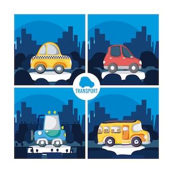 Insieme di progettazione grafica dell'illustrazione di vettore dei veicoli dei fumetti