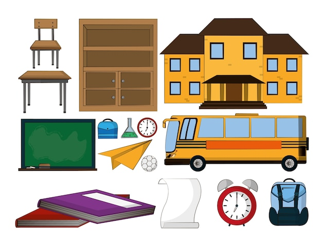 Insieme di progettazione grafica dell'illustrazione di vettore delle icone degli elementi della scuola