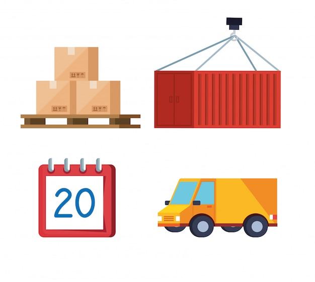 Insieme di progettazione logistica dell'illustrazione di vettore delle icone di servizio logistico di consegna