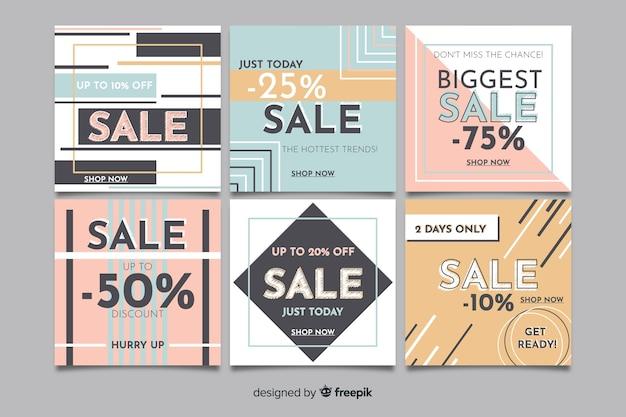 Insieme di progettazione quadrata dell'insegna di vendite per instagram